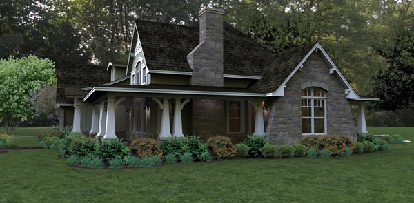 Bungalow, Cottage, Country, Tuscan House Plan 65875 with 3 Beds, 3 Baths, 2 Car Garage Picture 2