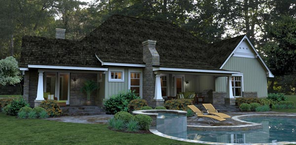 Bungalow, Cottage, Country, Tuscan House Plan 65875 with 3 Beds, 3 Baths, 2 Car Garage Picture 4