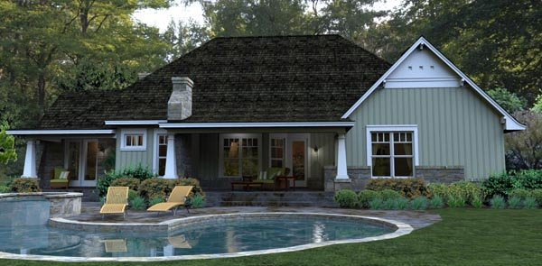 Bungalow, Cottage, Country, Tuscan House Plan 65875 with 3 Beds, 3 Baths, 2 Car Garage Rear Elevation