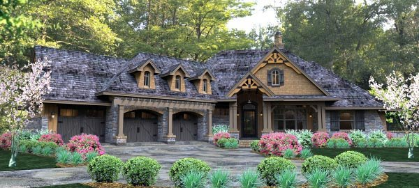 Cottage, Country, Craftsman, Traditional, Tuscan House Plan 65877 with 3 Beds, 3 Baths, 3 Car Garage Elevation