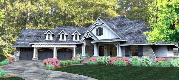 Cottage, Country, Craftsman, Traditional, Tuscan House Plan 65877 with 3 Beds, 3 Baths, 3 Car Garage Picture 2