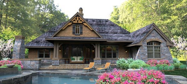 Cottage, Country, Craftsman, Traditional, Tuscan House Plan 65877 with 3 Beds, 3 Baths, 3 Car Garage Rear Elevation
