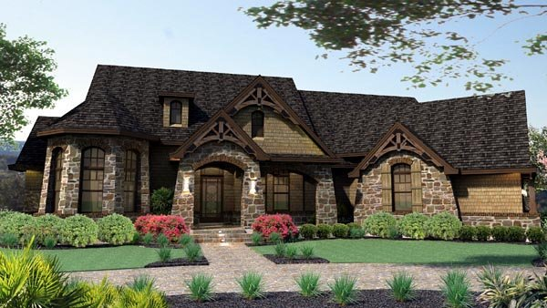 Craftsman, Tuscan House Plan 65888 with 3 Beds, 3 Baths, 2 Car Garage Elevation