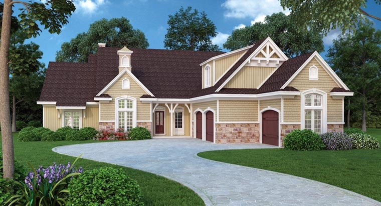Traditional House Plan 65974 with 4 Beds, 3 Baths, 2 Car Garage Elevation