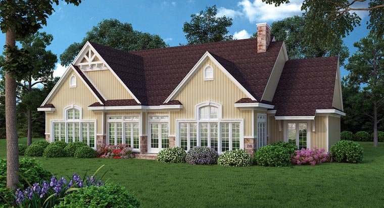 Traditional House Plan 65974 with 4 Beds, 3 Baths, 2 Car Garage Rear Elevation