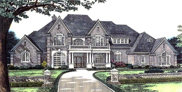 European, French Country, Tudor, Victorian House Plan 66026 with 5 Beds, 6 Baths, 4 Car Garage Elevation