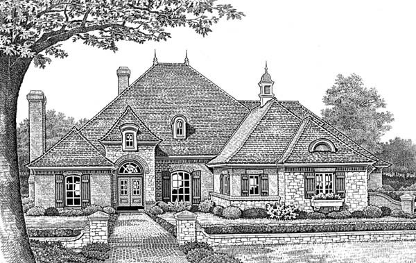 European, One-Story, Traditional House Plan 66052 with 4 Beds, 4 Baths, 3 Car Garage Elevation