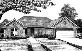 One-Story, Ranch, Traditional House Plan 66066 with 3 Beds, 2 Baths, 2 Car Garage Elevation
