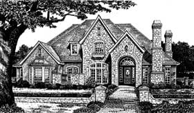 European, French Country, Tudor House Plan 66096 with 4 Beds, 4 Baths, 3 Car Garage Elevation