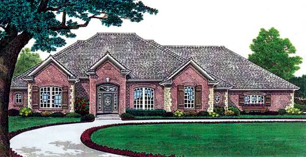 One-Story, Traditional House Plan 66208 with 3 Beds, 3 Baths, 3 Car Garage Elevation