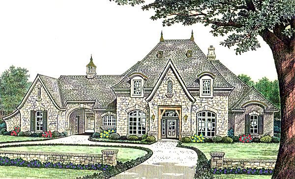 Country, French Country, Southern House Plan 66237 with 3 Beds, 4 Baths, 3 Car Garage Elevation