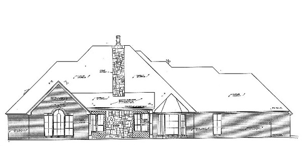 Country, Southern House Plan 66239 with 4 Beds, 4 Baths, 3 Car Garage Rear Elevation