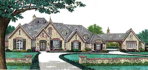 European, French Country House Plan 66248 with 4 Beds, 5 Baths, 4 Car Garage Elevation