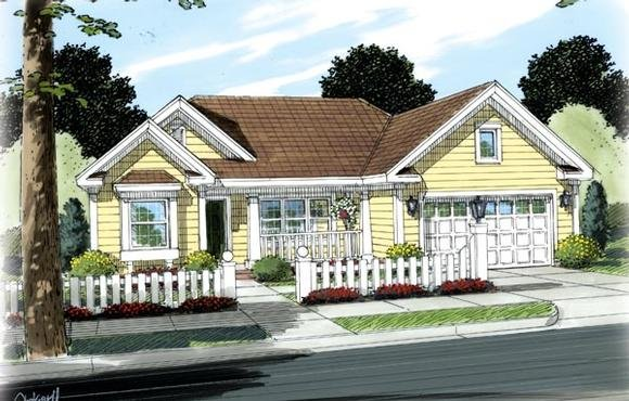 Ranch, Traditional House Plan 66490 with 3 Beds, 2 Baths, 2 Car Garage Elevation