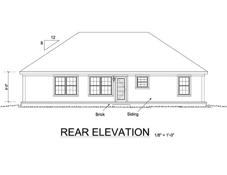 Ranch, Traditional House Plan 66490 with 3 Beds, 2 Baths, 2 Car Garage Rear Elevation