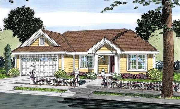 Traditional House Plan 66496 with 3 Beds, 2 Baths, 2 Car Garage Elevation