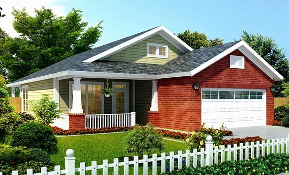 Bungalow, Traditional House Plan 66499 with 3 Beds, 2 Baths, 2 Car Garage Elevation