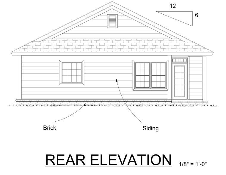 Bungalow, Traditional House Plan 66499 with 3 Beds, 2 Baths, 2 Car Garage Rear Elevation