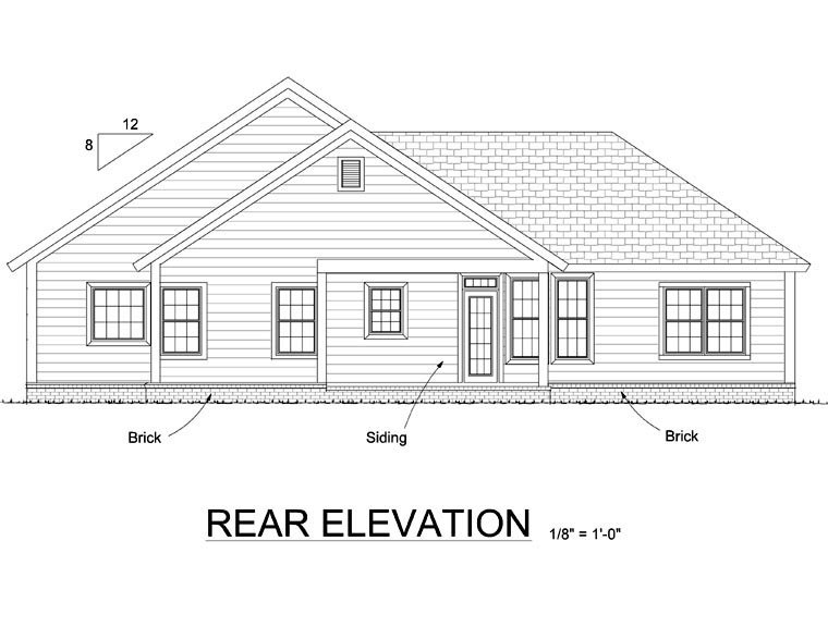 Country, Traditional House Plan 66543 with 3 Beds, 2 Baths, 2 Car Garage Rear Elevation