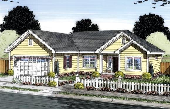 Ranch, Traditional House Plan 66547 with 3 Beds, 2 Baths, 2 Car Garage Elevation