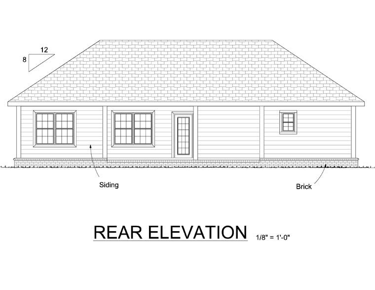 Ranch, Traditional House Plan 66547 with 3 Beds, 2 Baths, 2 Car Garage Rear Elevation