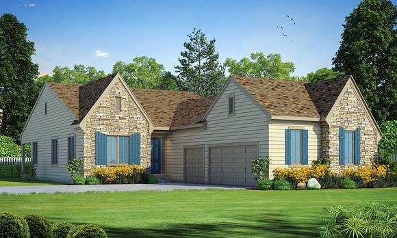 Traditional House Plan 66749 with 2 Beds, 2 Baths, 3 Car Garage Elevation