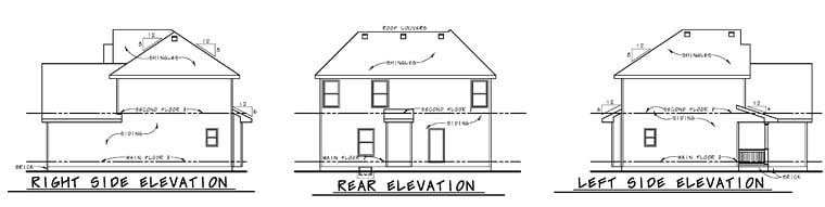 Country, Southern, Traditional House Plan 66760 with 3 Beds, 3 Baths, 2 Car Garage Rear Elevation