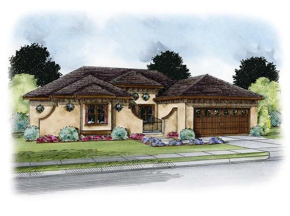 Italian, Southwest, Tuscan House Plan 66770 with 1 Beds, 3 Baths, 2 Car Garage Elevation