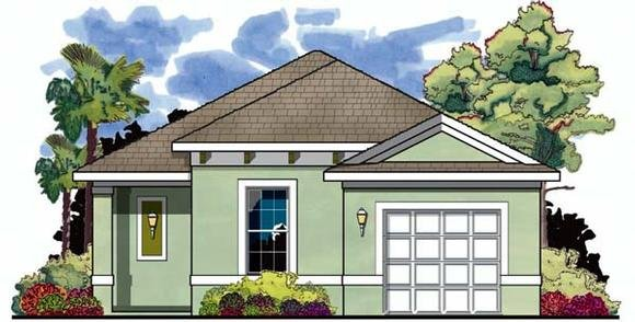 Florida House Plan 66800 with 2 Beds, 2 Baths, 1 Car Garage Elevation