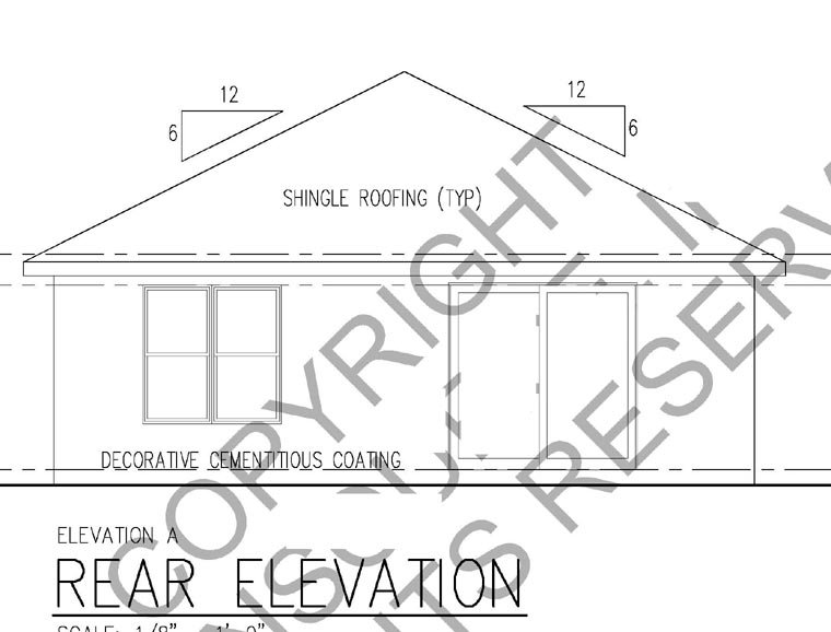 Florida House Plan 66800 with 2 Beds, 2 Baths, 1 Car Garage Rear Elevation