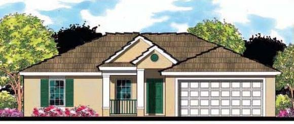 Florida, Ranch House Plan 66804 with 3 Beds, 2 Baths, 2 Car Garage Elevation