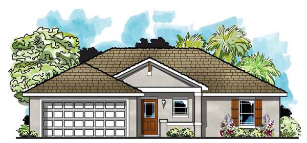 Cottage, Craftsman, Florida, Ranch, Traditional House Plan 66805 with 3 Beds, 2 Baths, 2 Car Garage Elevation