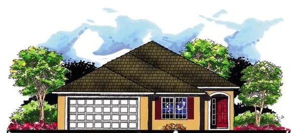 Florida House Plan 66806 with 3 Beds, 2 Baths, 2 Car Garage Elevation