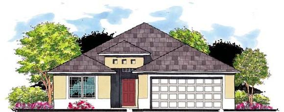 Florida House Plan 66808 with 3 Beds, 2 Baths, 2 Car Garage Elevation