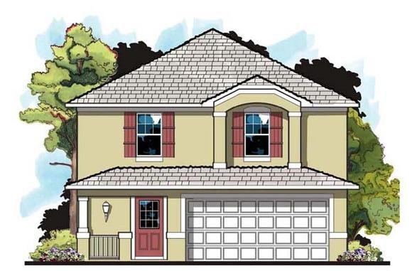 Florida, Traditional House Plan 66809 with 4 Beds, 3 Baths, 2 Car Garage Elevation