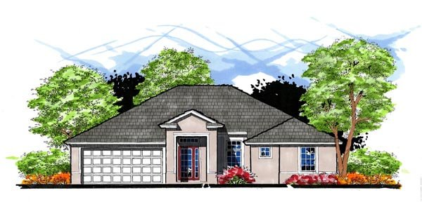 Contemporary, Florida House Plan 66810 with 3 Beds, 2 Baths, 2 Car Garage Elevation
