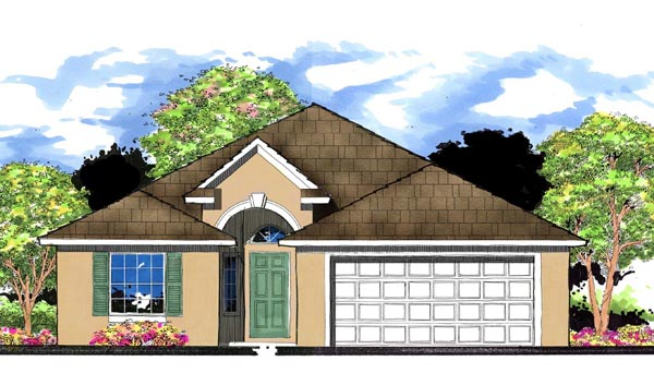 Florida, Traditional House Plan 66812 with 3 Beds, 2 Baths, 2 Car Garage Elevation