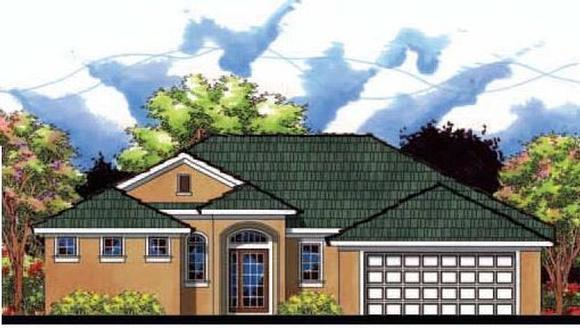 Contemporary, Florida House Plan 66816 with 3 Beds, 2 Baths, 2 Car Garage Elevation