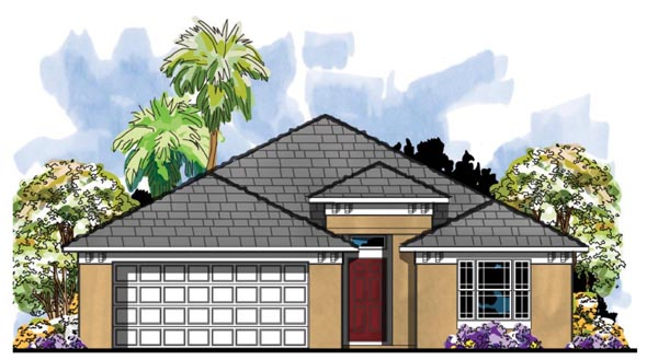 Contemporary, Florida House Plan 66817 with 4 Beds, 2 Baths, 2 Car Garage Elevation