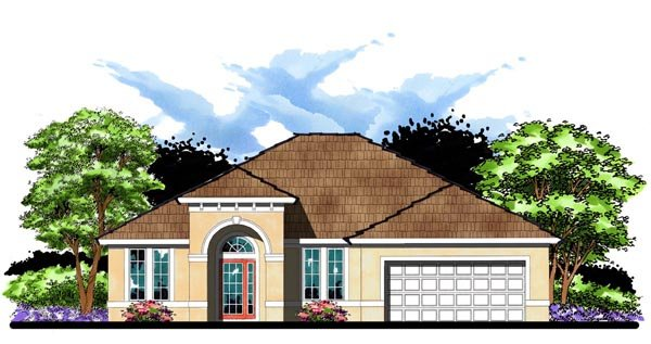 Florida, Ranch, Traditional House Plan 66840 with 4 Beds, 3 Baths, 2 Car Garage Elevation