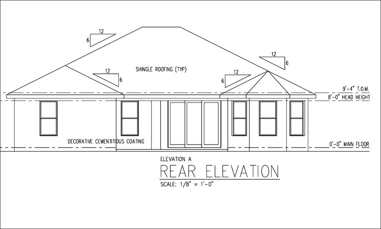 Florida, Ranch, Traditional House Plan 66840 with 4 Beds, 3 Baths, 2 Car Garage Rear Elevation