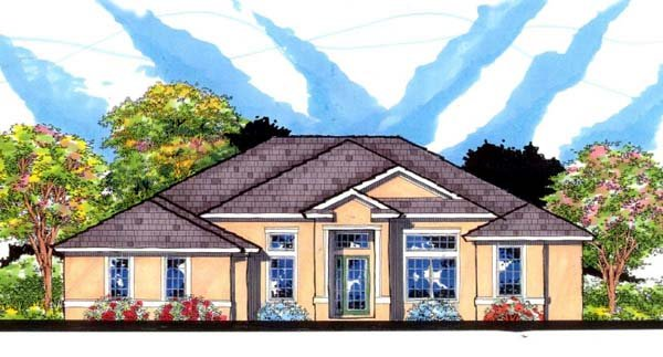 Contemporary, Florida, Traditional House Plan 66859 with 4 Beds, 3 Baths, 3 Car Garage Elevation