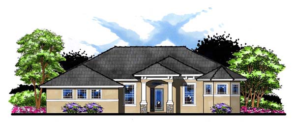 Craftsman, Florida, Ranch, Traditional House Plan 66884 with 4 Beds, 3 Baths, 3 Car Garage Elevation