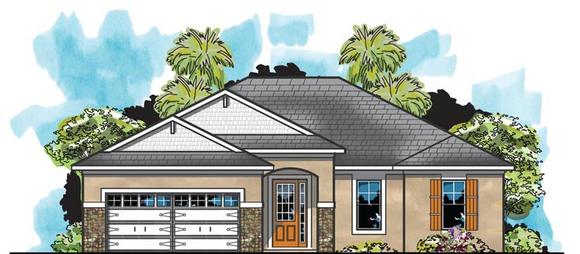 Traditional House Plan 66918 with 4 Beds, 2 Baths, 2 Car Garage Elevation