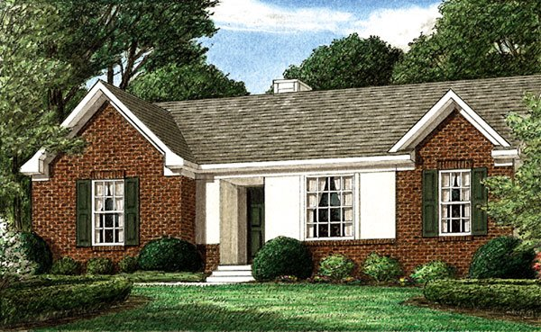 Ranch House Plan 67005 with 3 Beds, 2 Baths Elevation