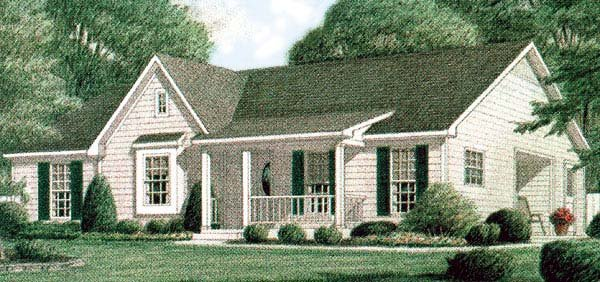 One-Story, Traditional House Plan 67006 with 3 Beds, 2 Baths Elevation