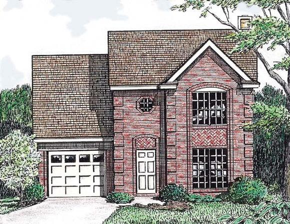 Narrow Lot, Traditional House Plan 67007 with 3 Beds, 3 Baths, 1 Car Garage Elevation