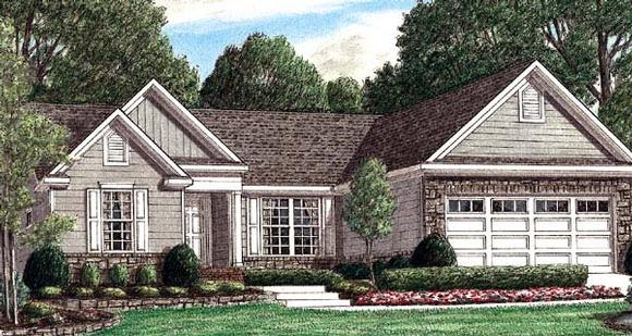 One-Story, Traditional House Plan 67010 with 3 Beds, 2 Baths, 2 Car Garage Elevation
