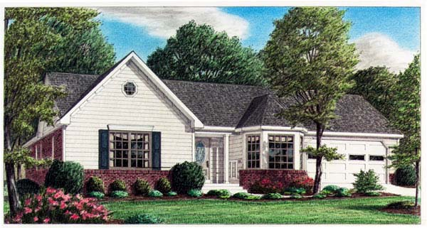 One-Story, Traditional House Plan 67014 with 3 Beds, 2 Baths, 2 Car Garage Elevation