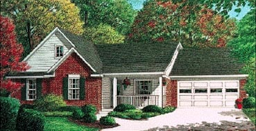 One-Story, Traditional House Plan 67017 with 3 Beds, 2 Baths, 2 Car Garage Elevation